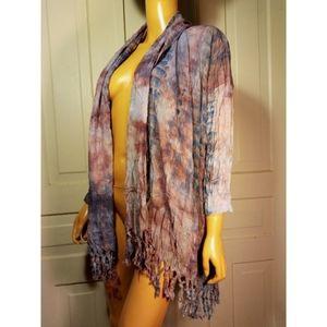 OS Oddy batik tie dye fringed kimono robe cover-up